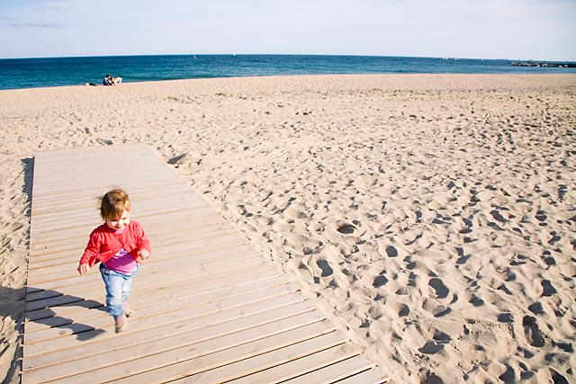 A day with the kids at a local Barcelona beach