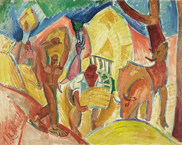 Pablo Picasso - The Harvesters (1907) Museo Thyssen-Bornemisza