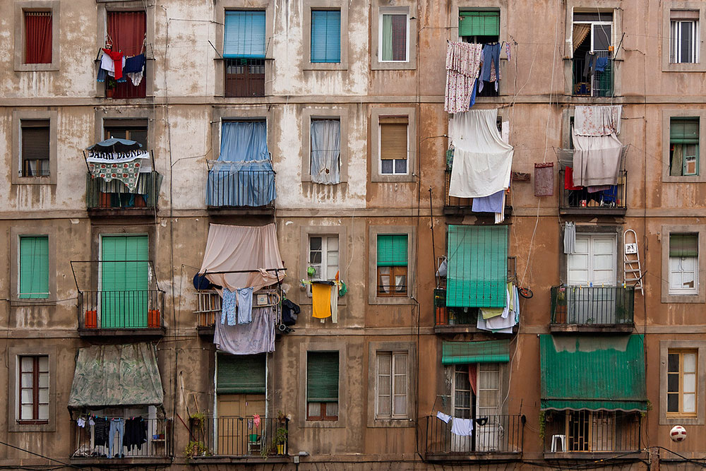 Apartment blocks in El Raval Barcelona