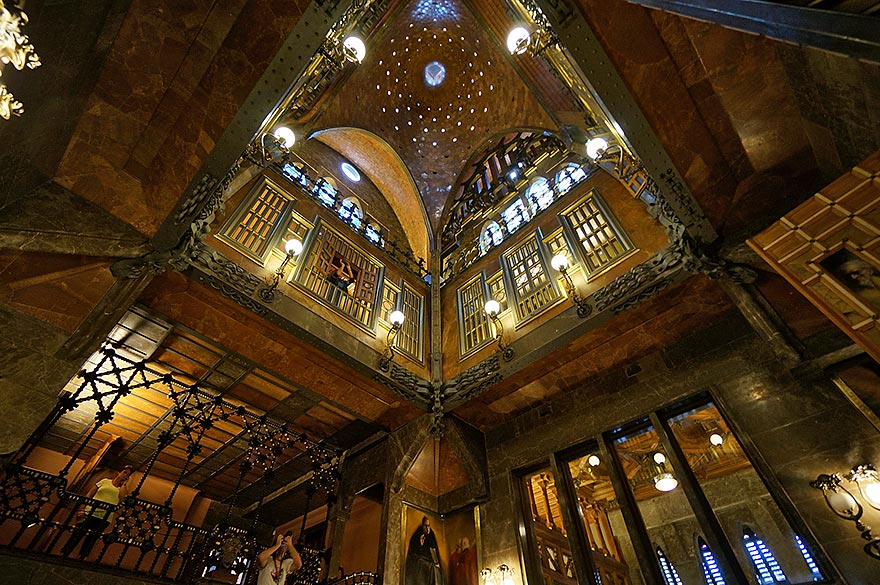 Interior of Palau Güell by Antoni Gaudí