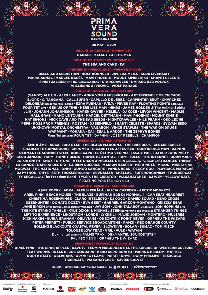 Programme Barcelona Primavera Sound Festival 2018