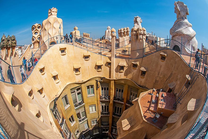 Roof terrace at La Pedrera